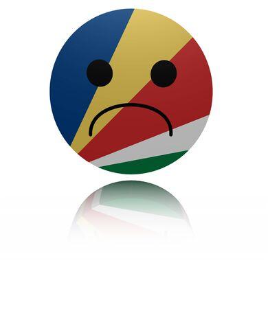 sorrowful: Seychelles sad icon with reflection illustration