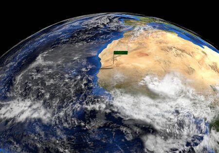 elevated: Mauritania flag on pole on earth globe illustration