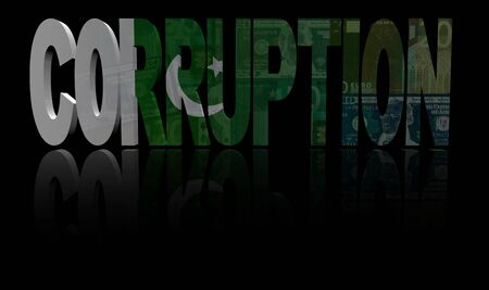 bribery: Corruption text with Pakistan flag and currency illustration