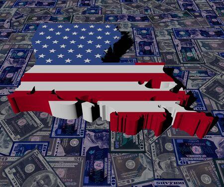 0 geography: Louisiana map flag on dollars illustration