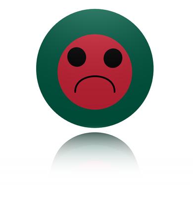 mournful: Bangladesh sad icon with reflection illustration
