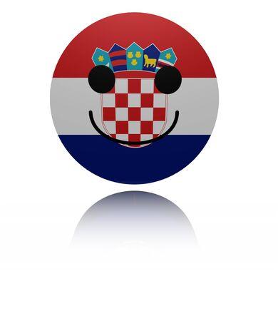 joyous: Croatia happy icon with reflection illustration