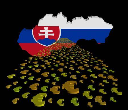 slovakian: Slovakia map flag with euros foreground illustration