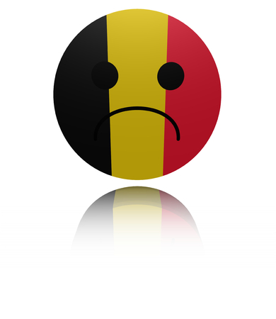 sorrowful: Belgium sad icon with reflection illustration