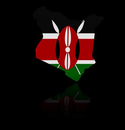 kenya: Kenya map flag with reflection illustration