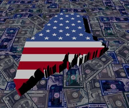 Maine map flag on dollars illustration