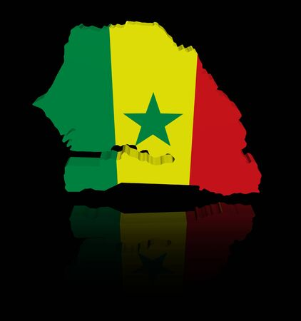 senegal: Senegal map flag with reflection illustration