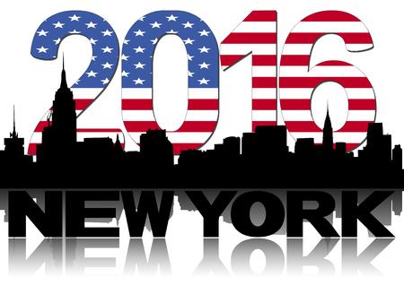 midtown: Midtown skyline 2016 flag text illustration