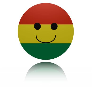 elated: Bolivia happy icon with reflection illustration