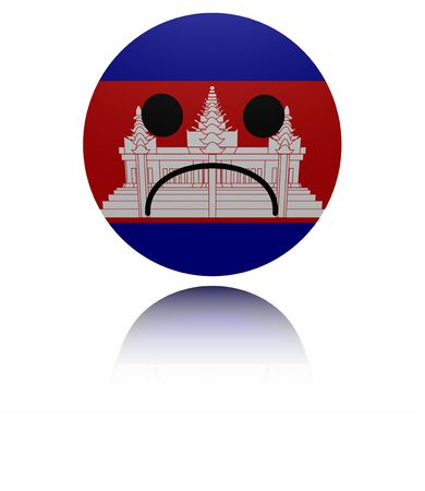sorrowful: Cambodia sad icon with reflection illustration