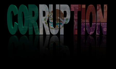 bribery: Corruption text with Mexican flag and currency illustration Stock Photo