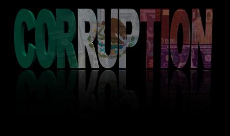 drapeau mexicain: texte de la corruption avec le drapeau mexicain et monnaie illustration