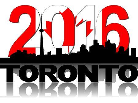 canadian flag: Toronto skyline Canadian flag 2016 text illustration Stock Photo