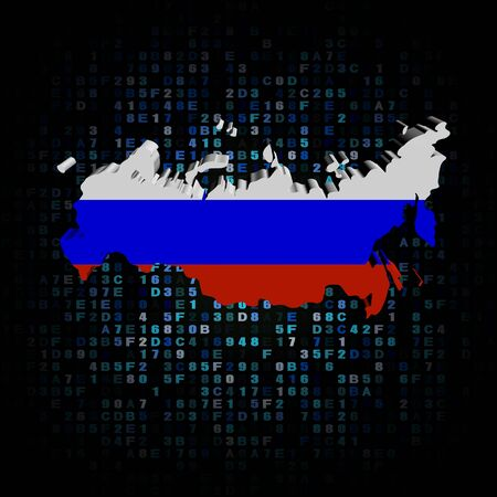 hex: Russia map flag on hex code illustration