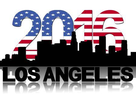 angeles: Los Angeles skyline 2016 flag text illustration