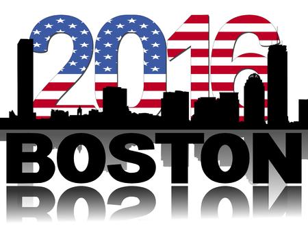 boston skyline: Boston skyline 2016 flag text illustration