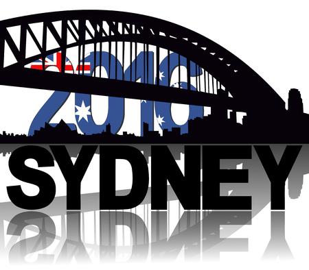 sydney skyline: Sydney skyline 2016 flag text illustration