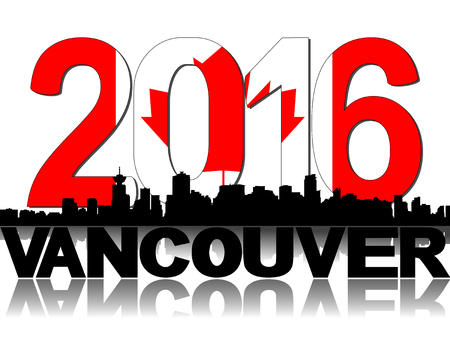 vancouver city: Vancouver skyline Canadian flag 2016 text illustration
