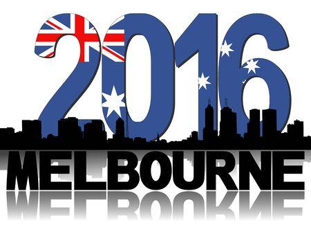 melbourne: Melbourne skyline 2016 flag text illustration