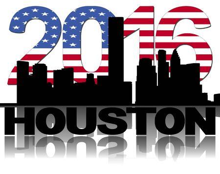 houston flag: Houston skyline 2016 flag text illustration