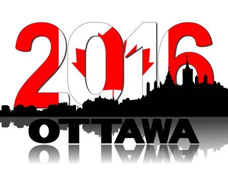 canadian flag: Ottawa skyline Canadian flag 2016 text illustration