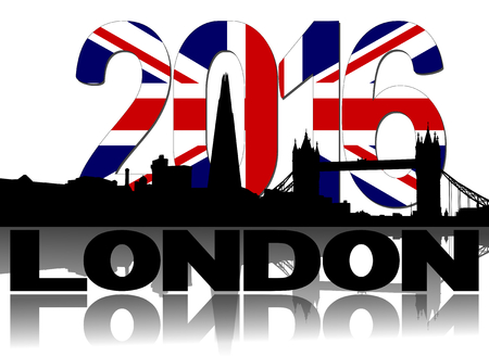 shard: Shard and London skyline with British flag 2016 text illustration