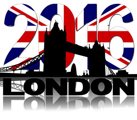 london tower bridge: Tower Bridge London with British flag 2016 text illustration