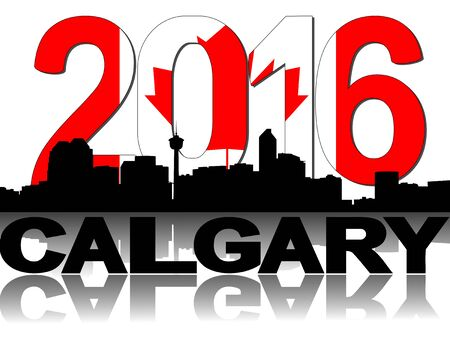 canadian flag: Calgary skyline Canadian flag 2016 text illustration Stock Photo