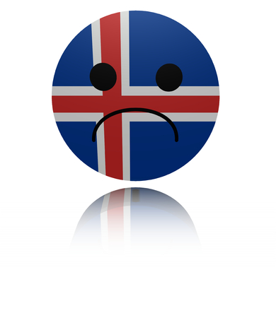 sorrowful: Iceland sad icon with reflection illustration Stock Photo