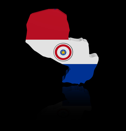 reflection: Paraguay map flag with reflection illustration