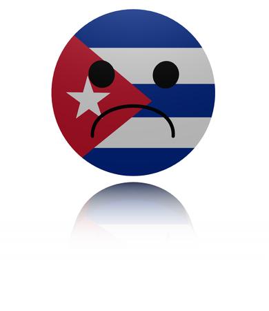 mournful: Cuba sad icon with reflection illustration Stock Photo
