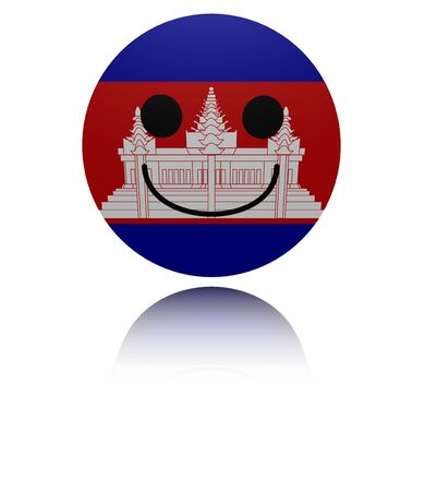 cambodian flag: Cambodia happy icon with reflection illustration