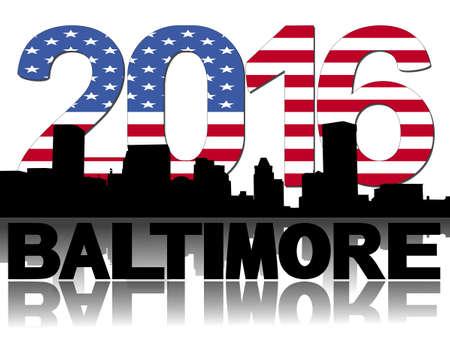 baltimore: Baltimore skyline 2016 flag text illustration Stock Photo