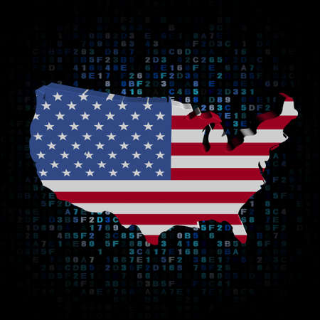 hex: USA map flag on hex code illustration