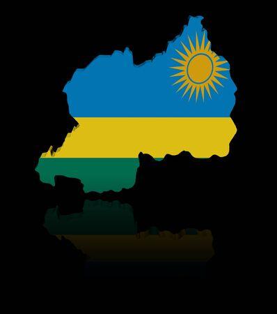 rwanda: Rwanda map flag with reflection illustration