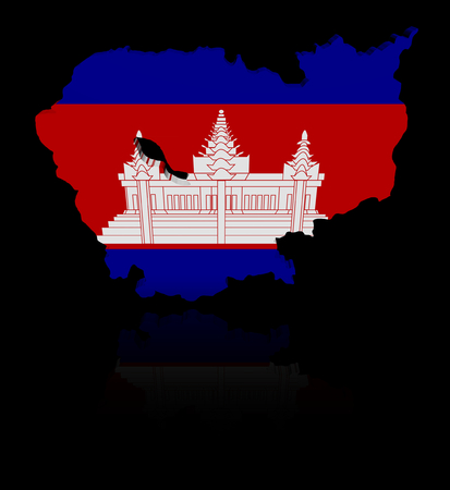 cambodian flag: Cambodia map flag with reflection illustration Stock Photo