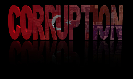 dishonest: Corruption text with Turkish flag and currency illustration Stock Photo