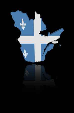 quebec: Quebec map flag with reflection illustration