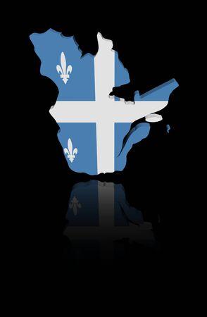 quebec: Quebec map flag with reflection illustration