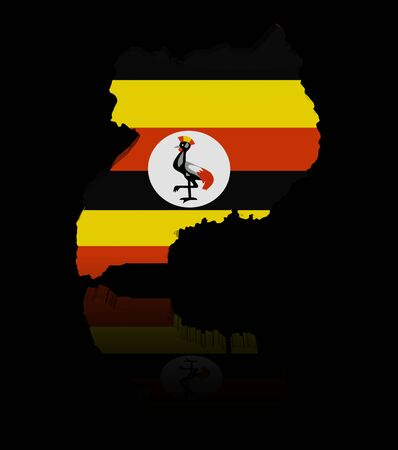 ugandan: Uganda map flag with reflection illustration Stock Photo