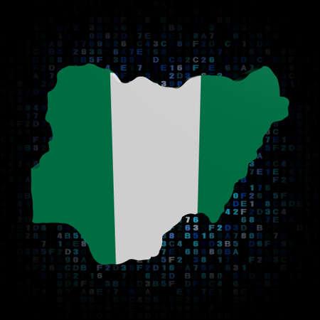 nigeria: Nigeria map flag on hex code illustration