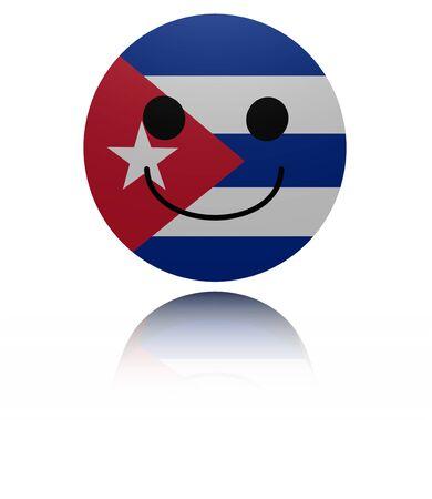 joyous: Cuba happy icon with reflection illustration Stock Photo