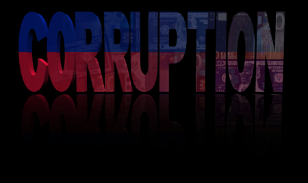 bribery: Corruption text with Haitian flag and currency illustration Stock Photo