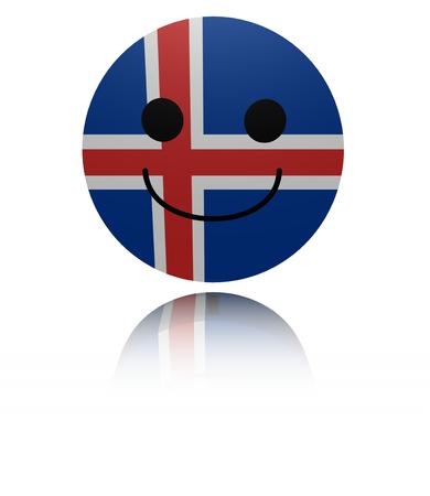 joyous: Iceland happy icon with reflection illustration