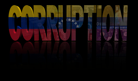 corruption: Corruption text with Venezuelan flag and currency illustration