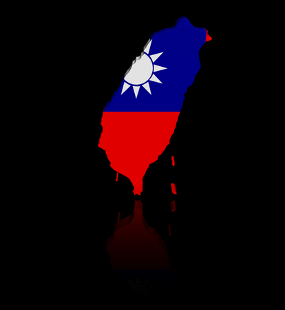 taiwanese: Taiwan map flag with reflection illustration