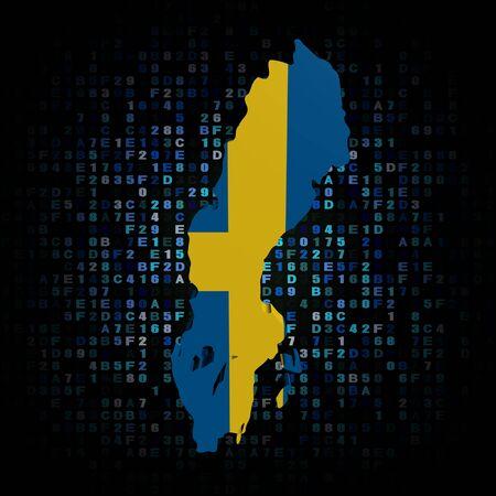 sweden map: Sweden map flag on hex code illustration