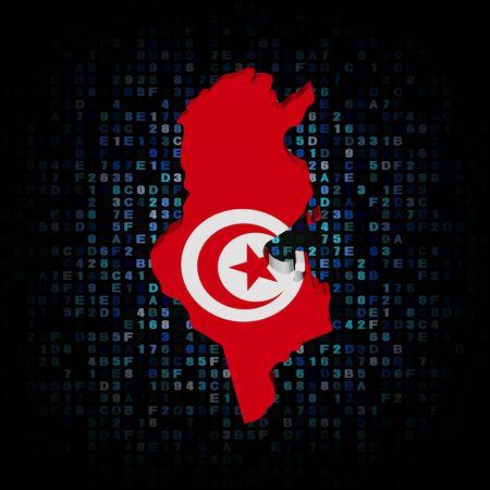 hex: Tunisia map flag on hex code illustration