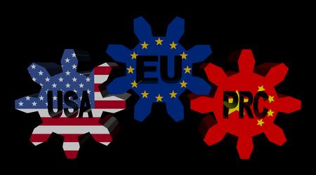 eu: USA EU China flag cogs illustration