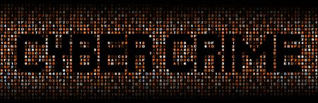 malicious software: Cyber crime text on hex code illustration